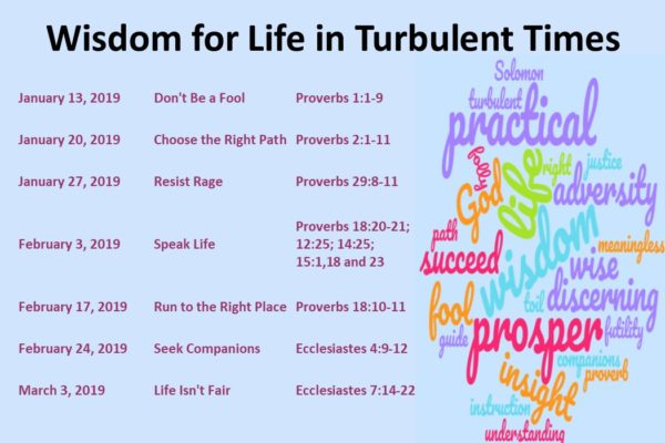 Starting January 13 – Wisdom for Life in Turbulent Times